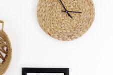 DIY stylish and minimal rattan wall clock