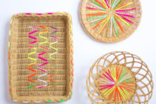 DIY rattan baskets with neon embroidery
