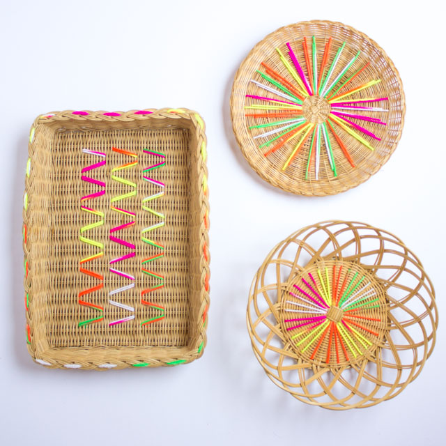 DIY rattan baskets with neon embroidery (via www.designimprovised.com)