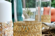 DIY faux rattan beverage cozies