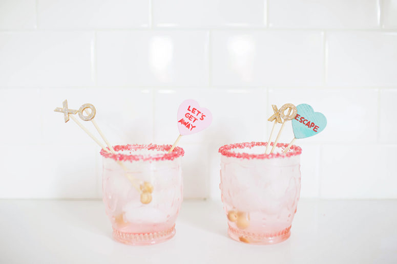 DIY Valentine's Day drink stirrers inspired by conversation hearts (via www.graymalin.com)