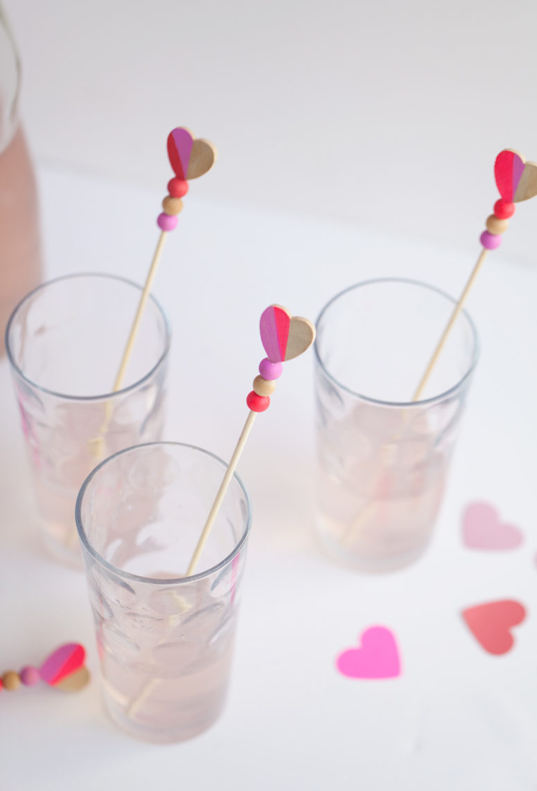 DIY colorful heart drink stirrers with beads (via tellloveandparty.com)