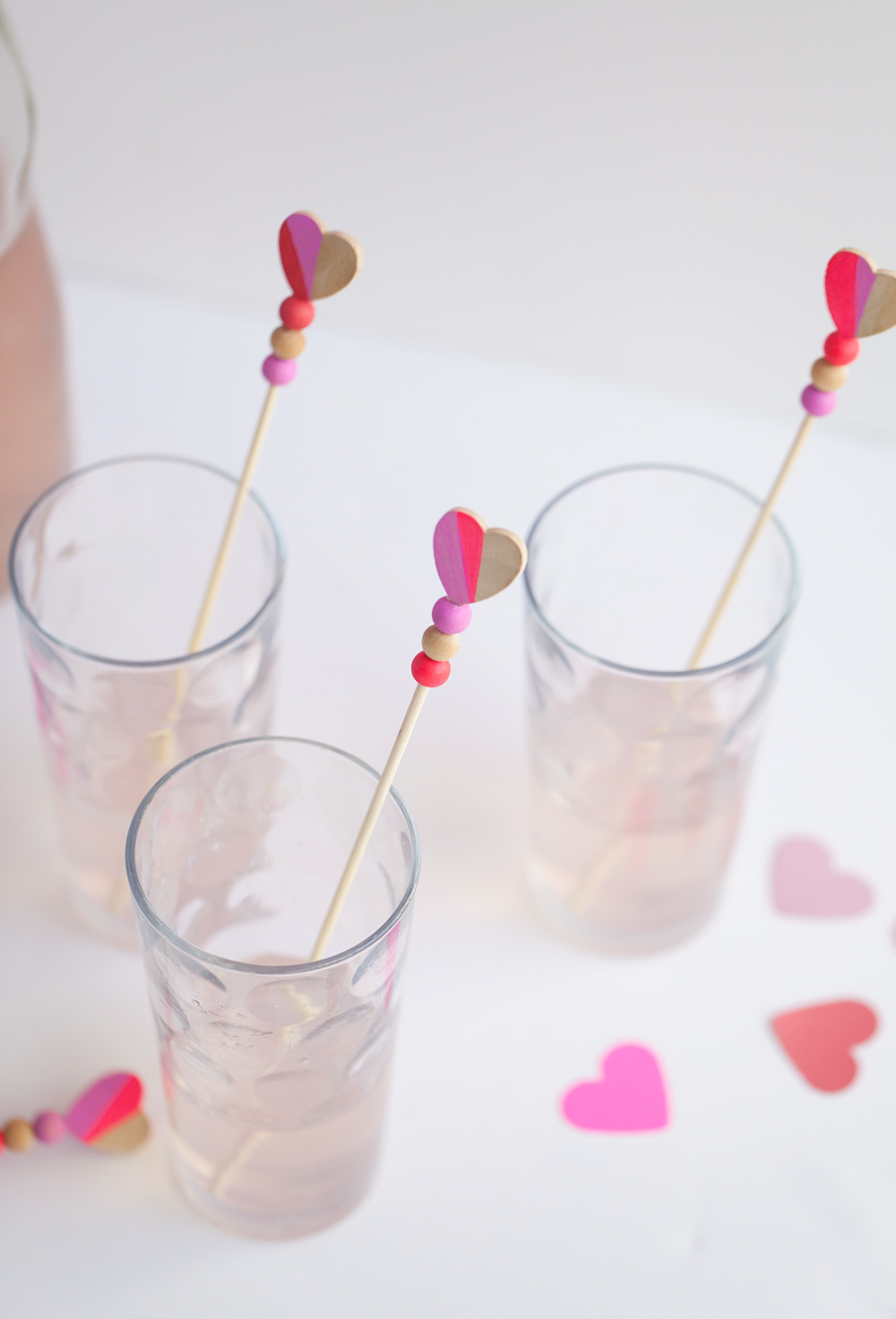 DIY colorful heart drink stirrers with beads