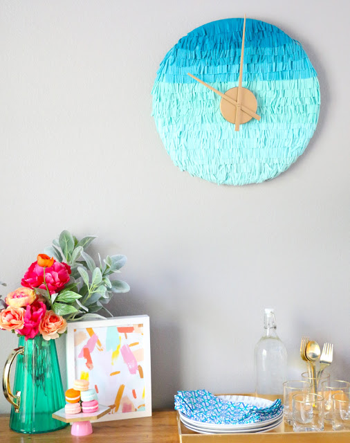 DIY ombre fringe wall clock in turquoise