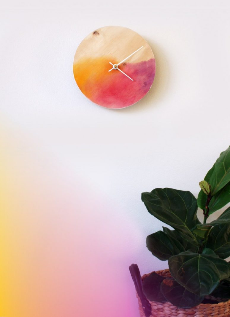 DIY bright and colorful watercolor wall clock (via makerssociety.com.au)