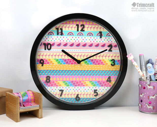 DIY super colorful washi tape wall clock (via www.thecraftblog.com)