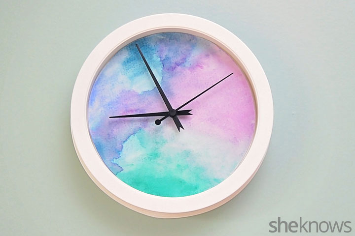 DIY painted watercolor wall clock