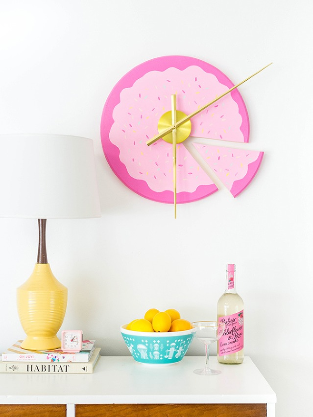 DIY fun and bold sliced cake clock