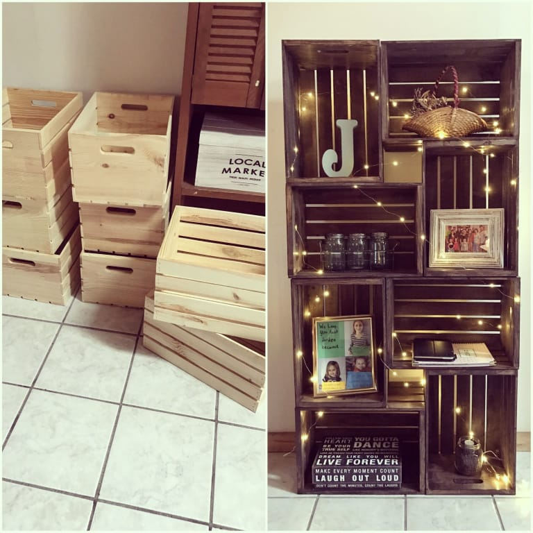 DIY stained crate bookshelf (via lifehack.media)