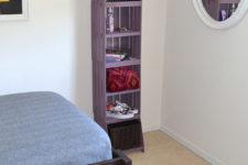 DIY small foot print tall bookshelf of crates