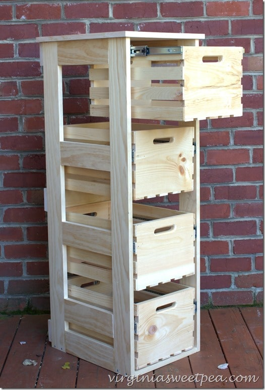 DIY wooden crate cabinet with sliding drawers