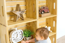 DIY light-stained wood crate shelf for kids' rooms