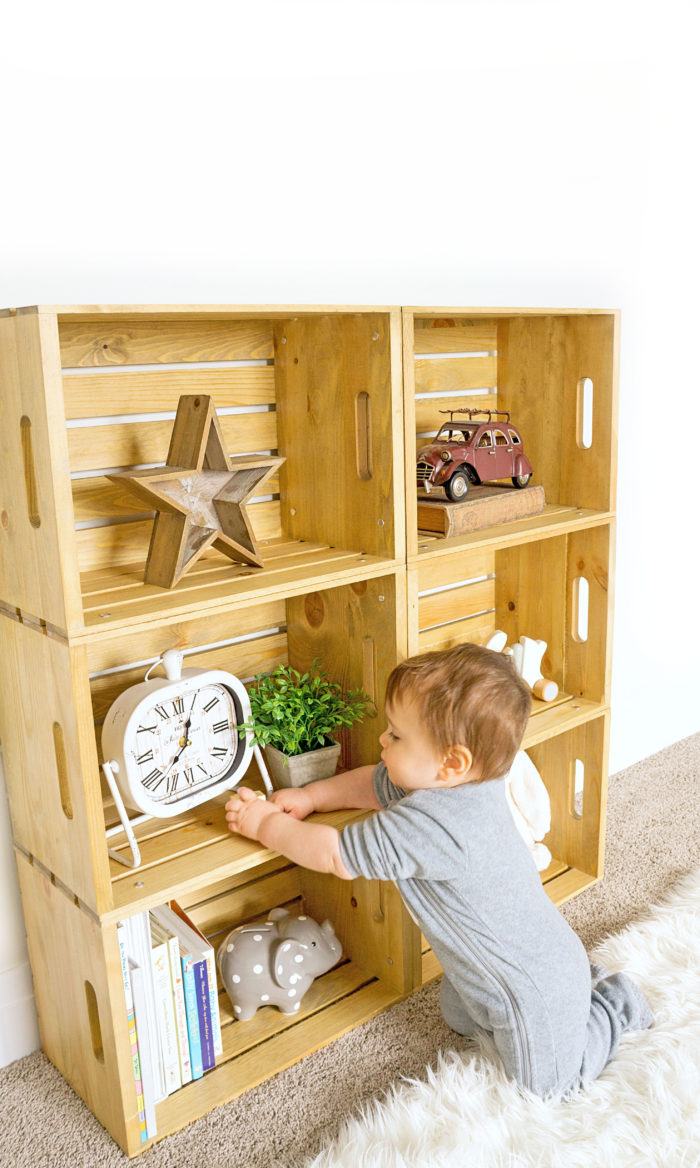 DIY light-stained wood crate shelf for kids' rooms (via www.hauteandhealthyliving.com)