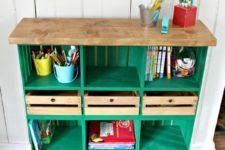 DIY bright green crate shelf with locker cubbies