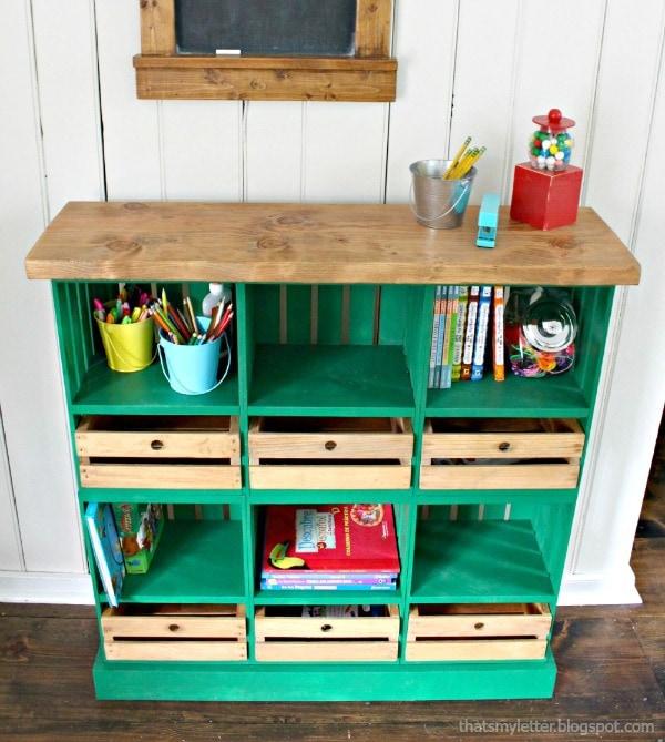 DIY bright green crate shelf with locker cubbies (via jaimecostiglio.com)