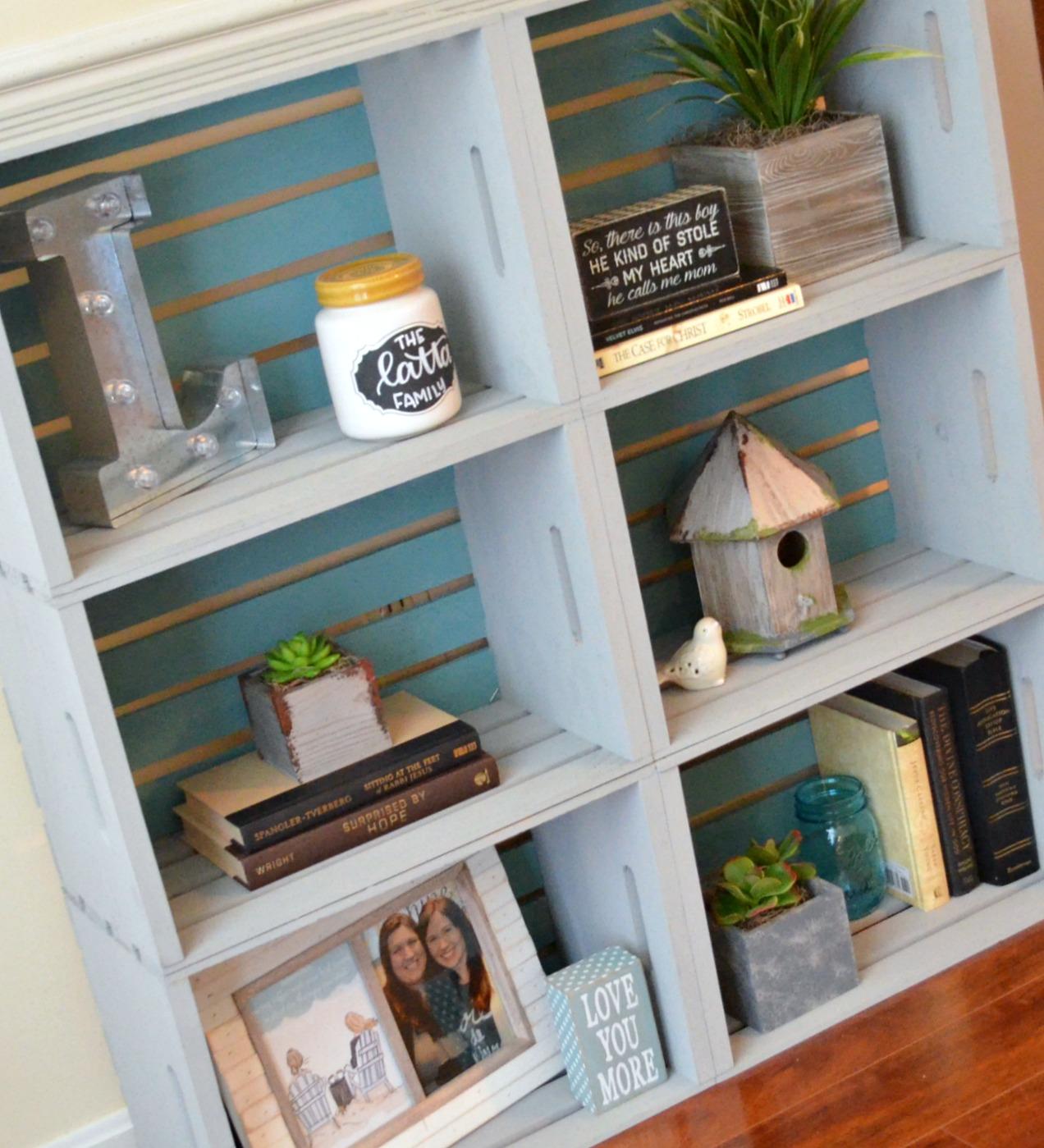 DIY vintage inspired blue crate bookcase