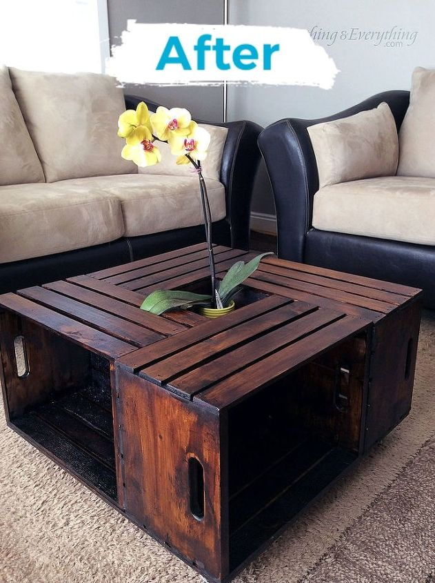 DIY crate coffee table and shelf in one