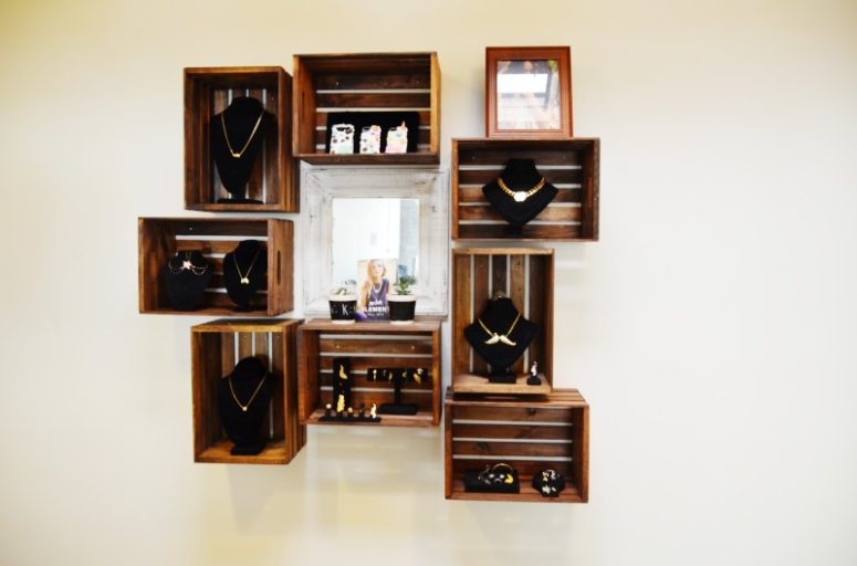 DIY floating crate shelves (via mrkate.com)