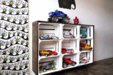 DIY floating storage shelf of crates