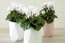 DIY pastel faceted vases for spring home decor