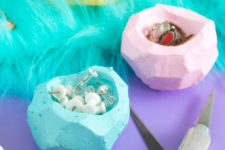 DIY faceted clay bowls to declutter the space