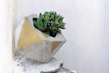 DIY faceted cement planters