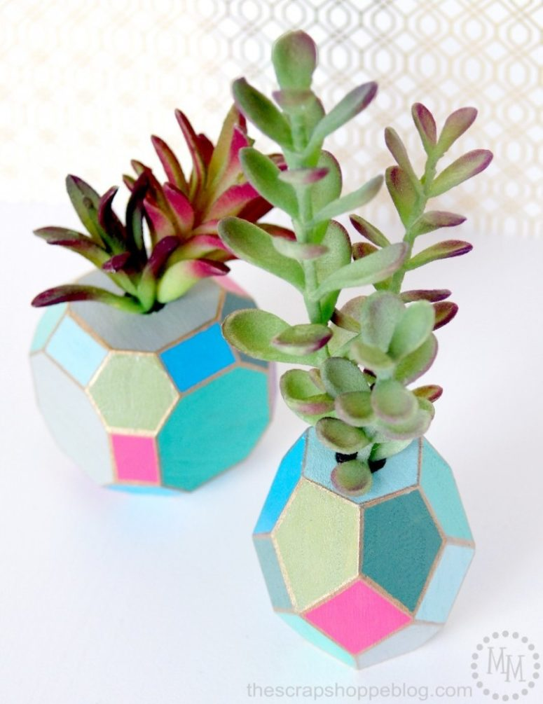 DIY multi-faceted and colorful succulent vases (via www.thescrapshoppeblog.com)