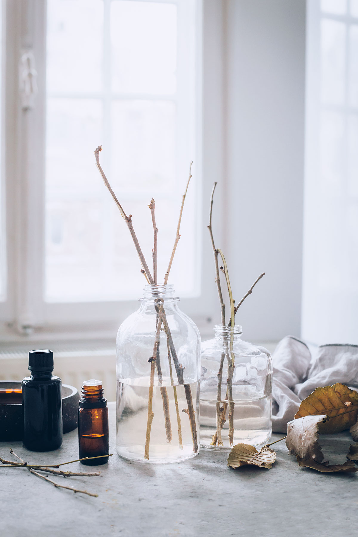 DIY essential oil reed diffuser with various mixes