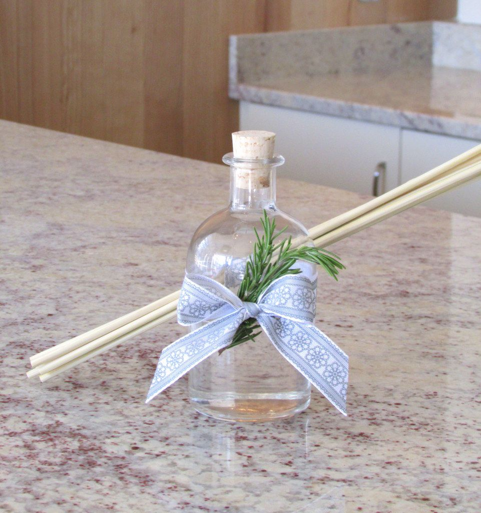 DIY oil reed diffuser with lavender essential oil