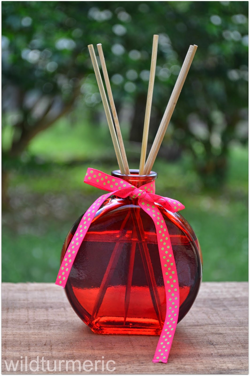 DIY oil reed diffuser with a rose and lavender mix