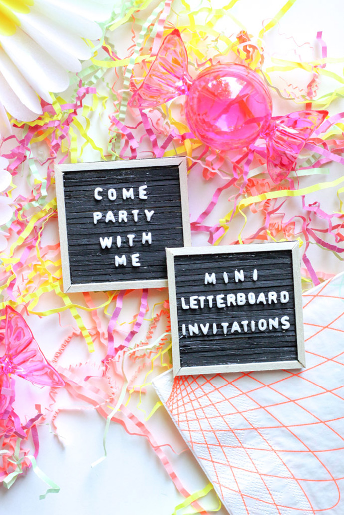 DIY mini letter board invitations with pasta (via www.handmadecharlotte.com)