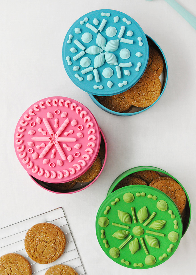 DIY bright painted pasta cookie tins