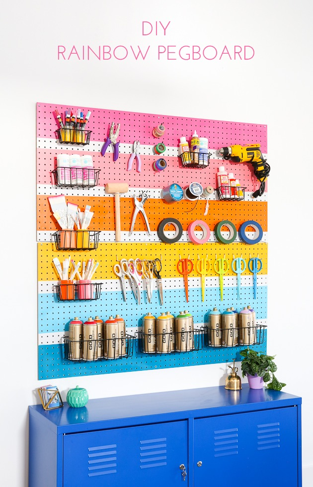 DIY rainbow pegboard for organization (via thecraftedlife.com)