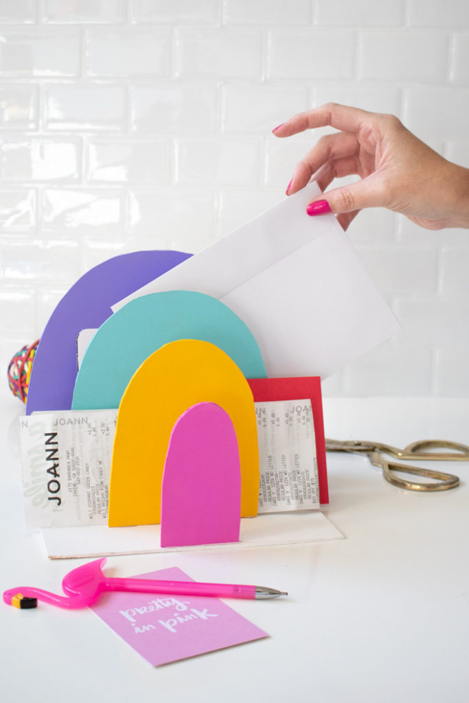 DIY rainbow paper organizer for your home office (via www.clubcrafted.com)