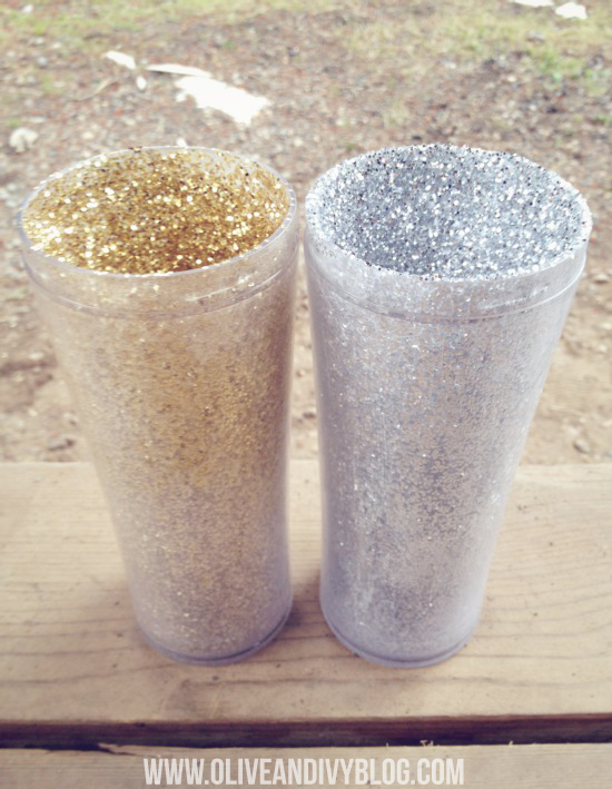 DIY glam glitter travel mug