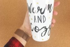DIY sharpie travel mug with gold polka dots