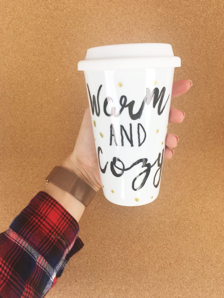 DIY sharpie travel mug with gold polka dots (via me.popsugar.com)