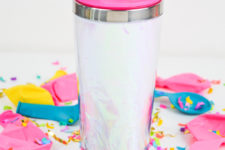 DIY 90s inspired holographic travel mug
