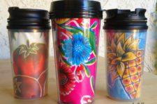 DIY colorful oilcloth travel mugs