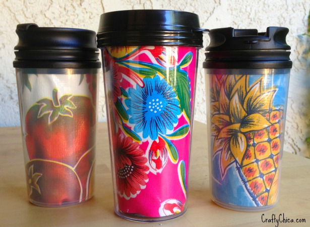 DIY colorful oilcloth travel mugs (via www.craftychica.com)