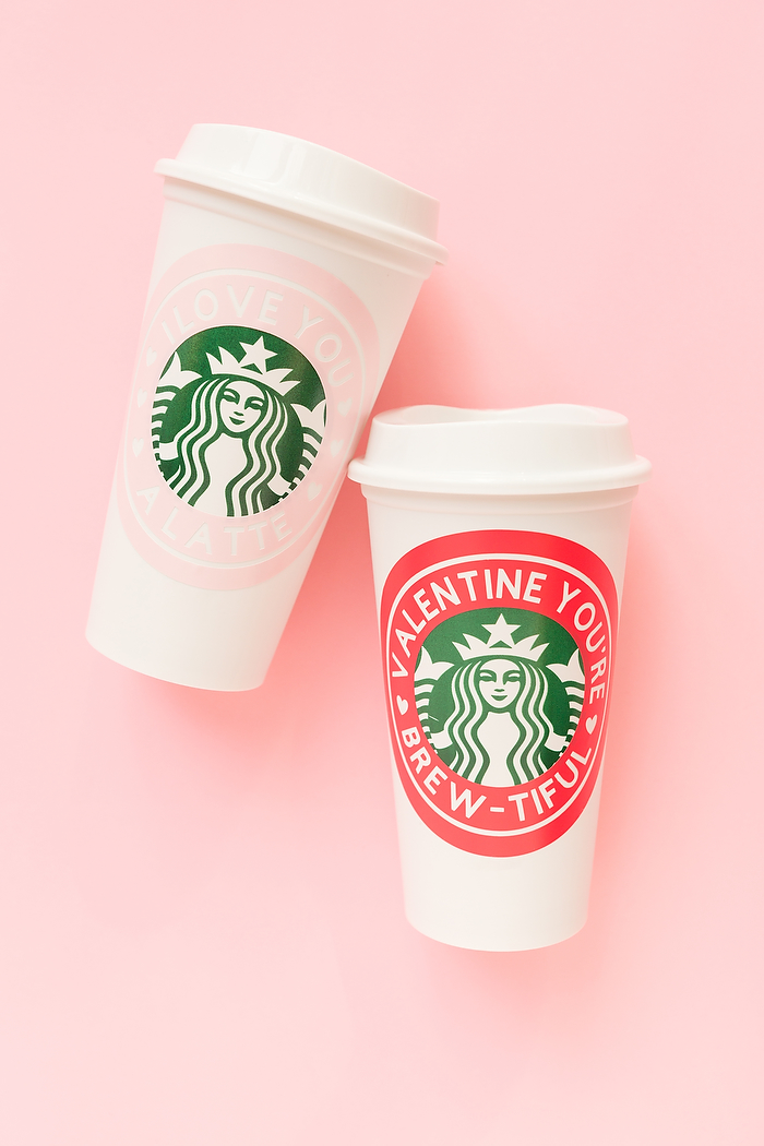 DIY personalized sticker coffee travel mugs (via acoastalbride.com)