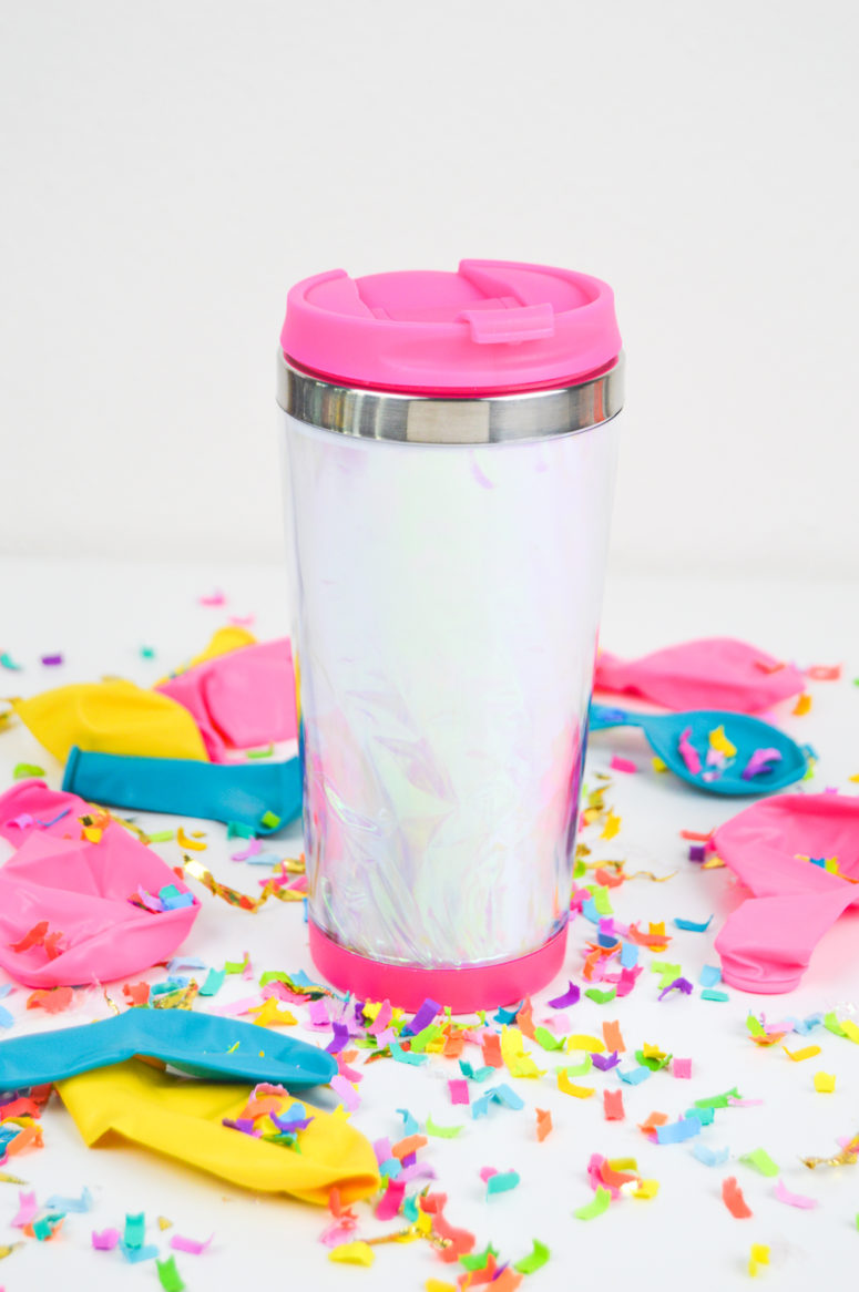 DIY 90s inspired holographic travel mug (via www.clubcrafted.com)