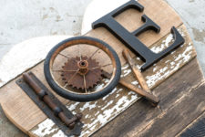 DIY reclaimed wood sign with industrial touches