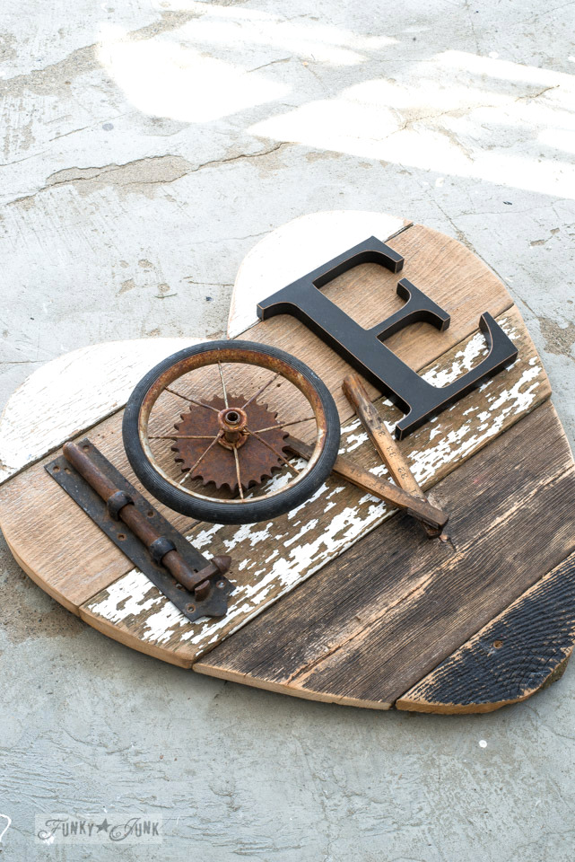 DIY reclaimed wood sign with industrial touches (via www.funkyjunkinteriors.net)