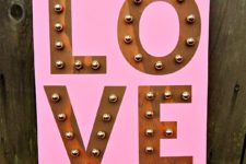 DIY pink love marquee sign for Valentine's Day
