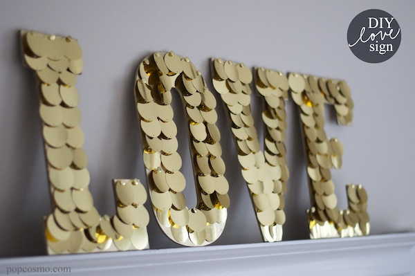 DIY LOVE sign using oversized gold sequins