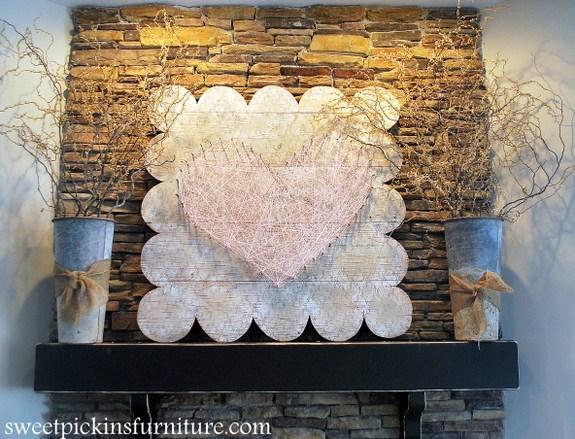 DIY vintage-inspired string heart sign for Valentine's Day (via www.sweetpickinsfurniture.com)