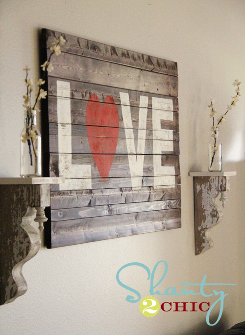 DIY rustic pallet LOVE sign with a red heart