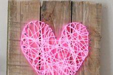 DIY bright pink neon heart sign