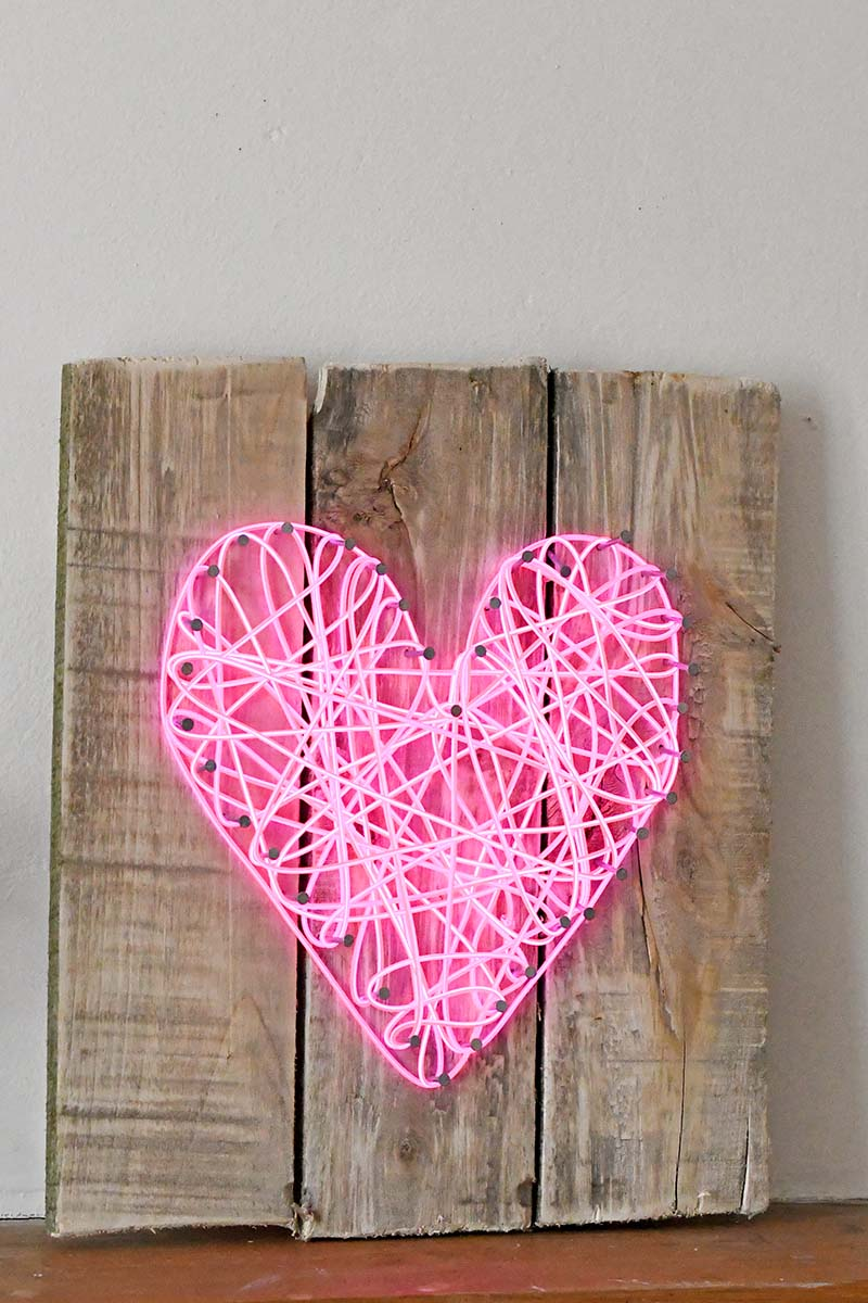 DIY bright pink neon heart sign